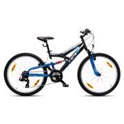 "Mountainbike Full susp. 24"" 18-g grå/blå"