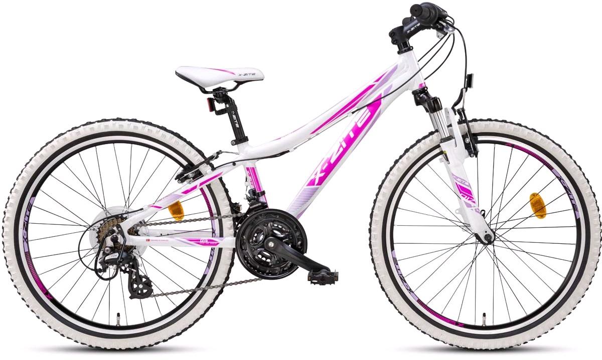 """Mountainbike 24"""" 24.21 21-gear hvid/pink"""