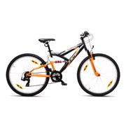 "Mountainbike Full susp. 26"" 21-g grå/ora"