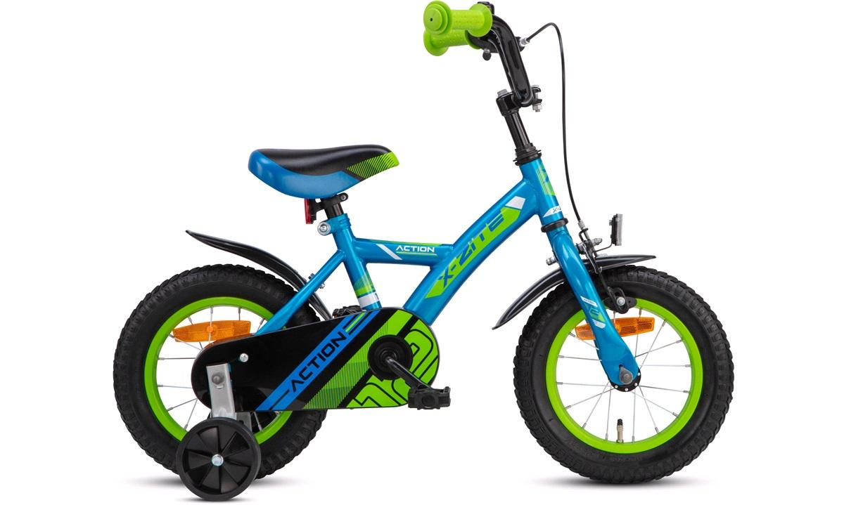 """Drengecykel 12"""" blå/grøn Action"""