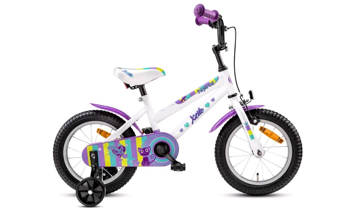 "Pigecykel 14"" purple cat hvid/lilla"