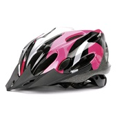 Cykelhjelm sort/pink/sølv Medium 56-58