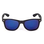 Solbrille, Wayfarer, sort, blå spejlglas