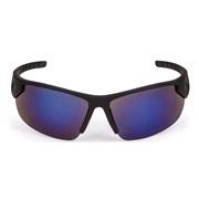 Solbrille, sport, sort rubber blåt spejl