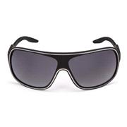 Solbrille sort rubber m/hvid linie
