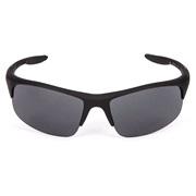 Solbrille sort rubber sølv/grå glas