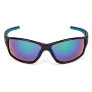 Solbrille sort sølv/grå glas grøn revo