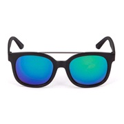 Solbrille matsort grå glas grøn revo
