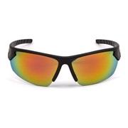 Sportbrille sort rubber rødt revospejl