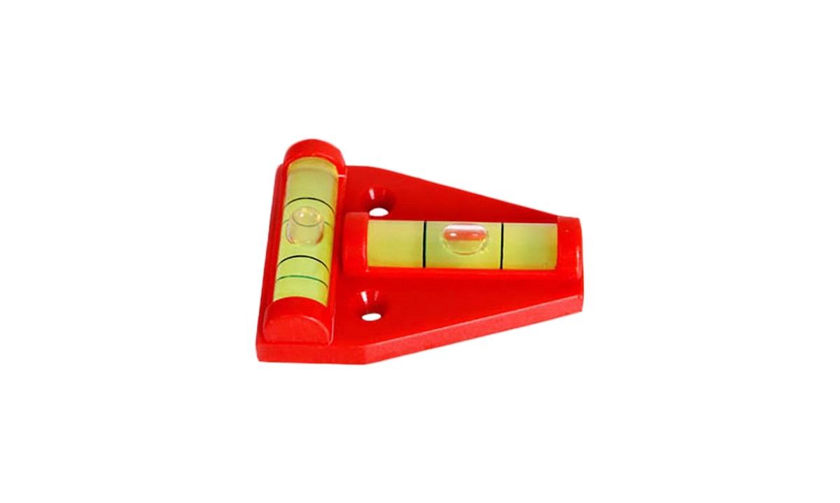 Vaterpas til montering på campingvogn, 58x44mm, rød