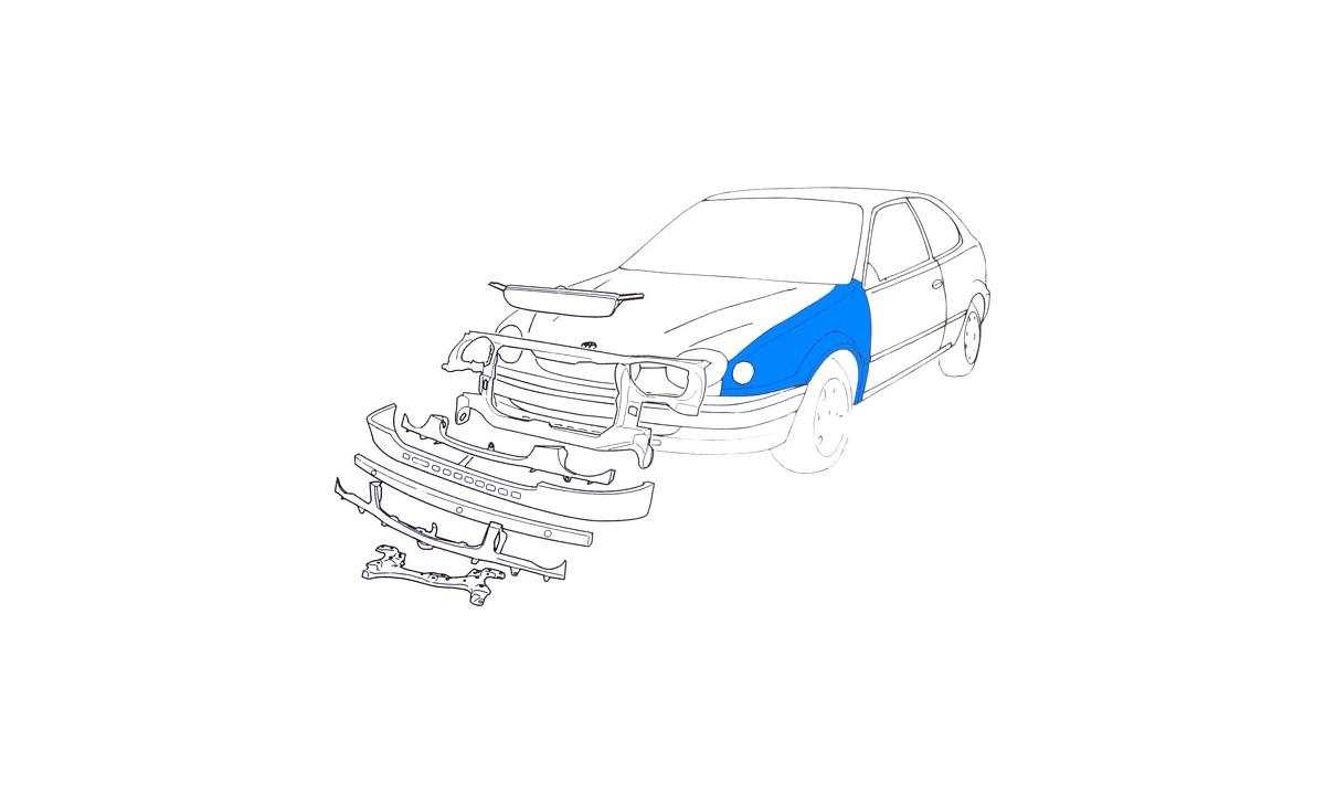 Forskjerm Corolla 1,3-2,0D 9/97-2/00 vs