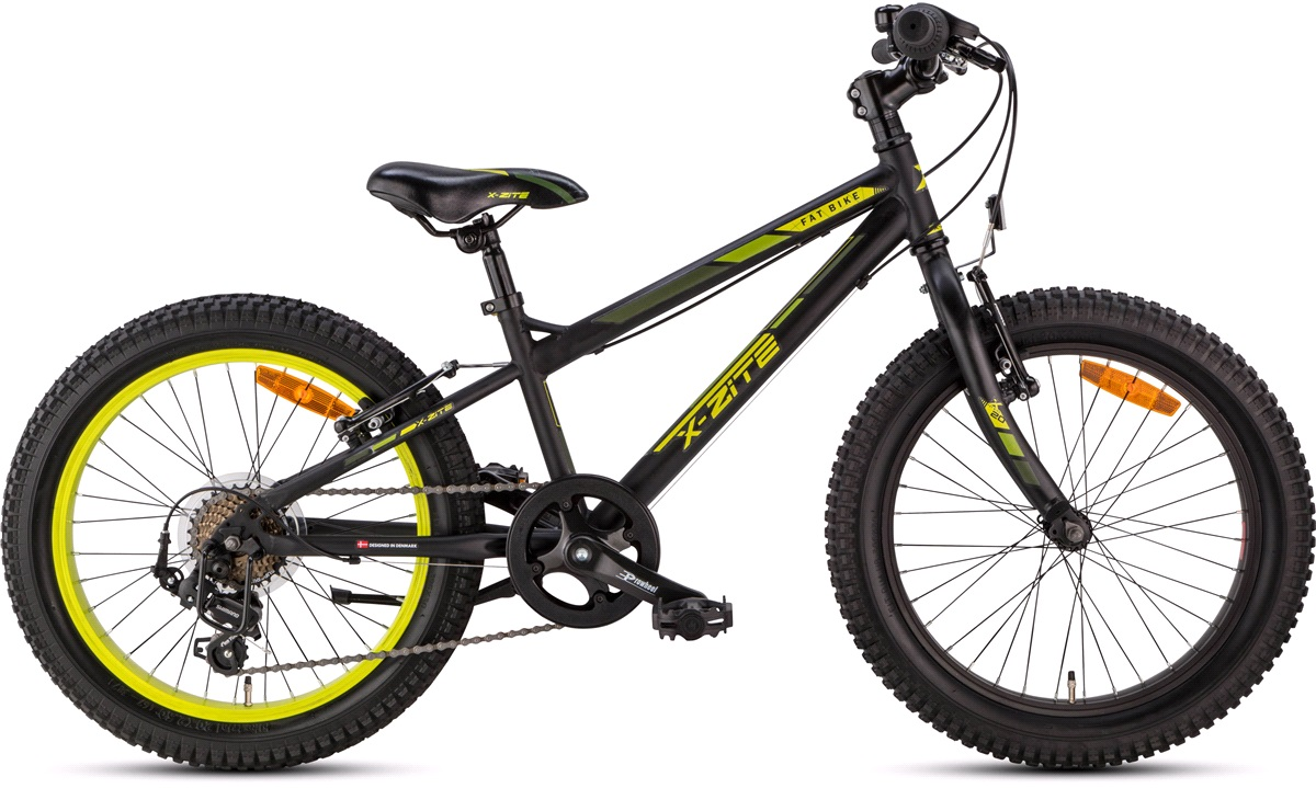 "Fatbike MTB 20"" 7-speed sort/gul"