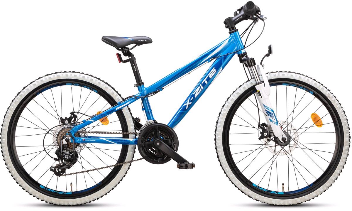 """Mountainbike 24"""" 24.21 21-gir blå/hvit"""
