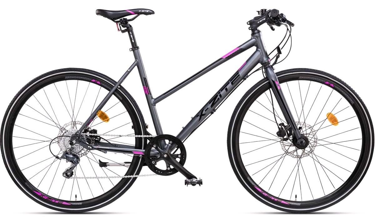 """Citybike dame 28"""" alu sport-8 antracit/pink 52cm"""