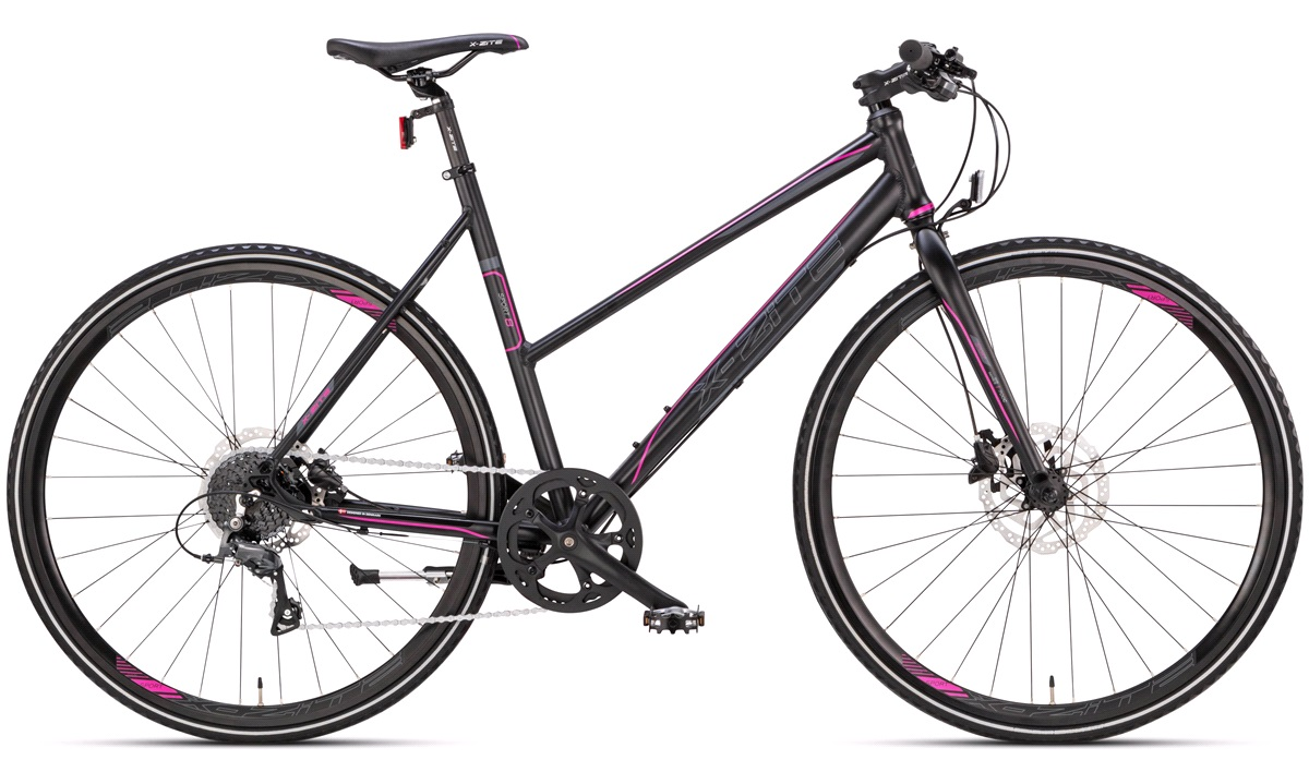 "Citybike dame 28"" sport-8 sort/pink"