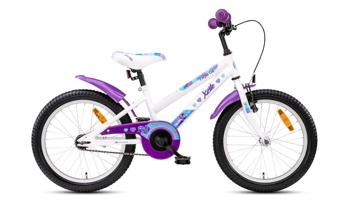 "Barnesykkel 18"" purple cat hvit/lilla"