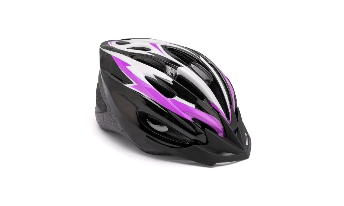Cykelhjelm sort/lilla/hvid junior 52-55
