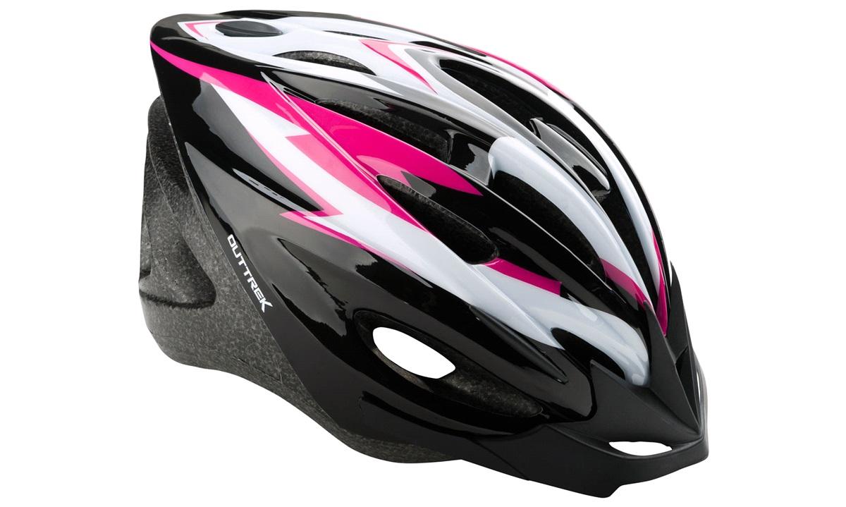 Cykelhjelm sort/pink/hvid medium 55-58