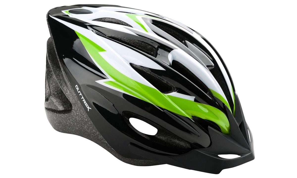 Cykelhjelm sort/grøn/hvid medium 55-58