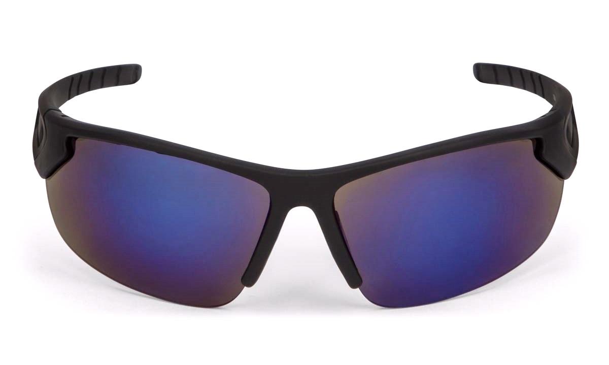 Solbrille, sport, sort rubber blåt spejl Briller thansen.dk