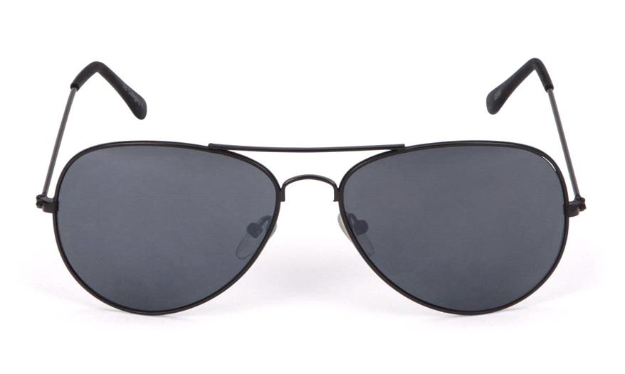 Solbriller metall pilot matt sort mørk glass Briller