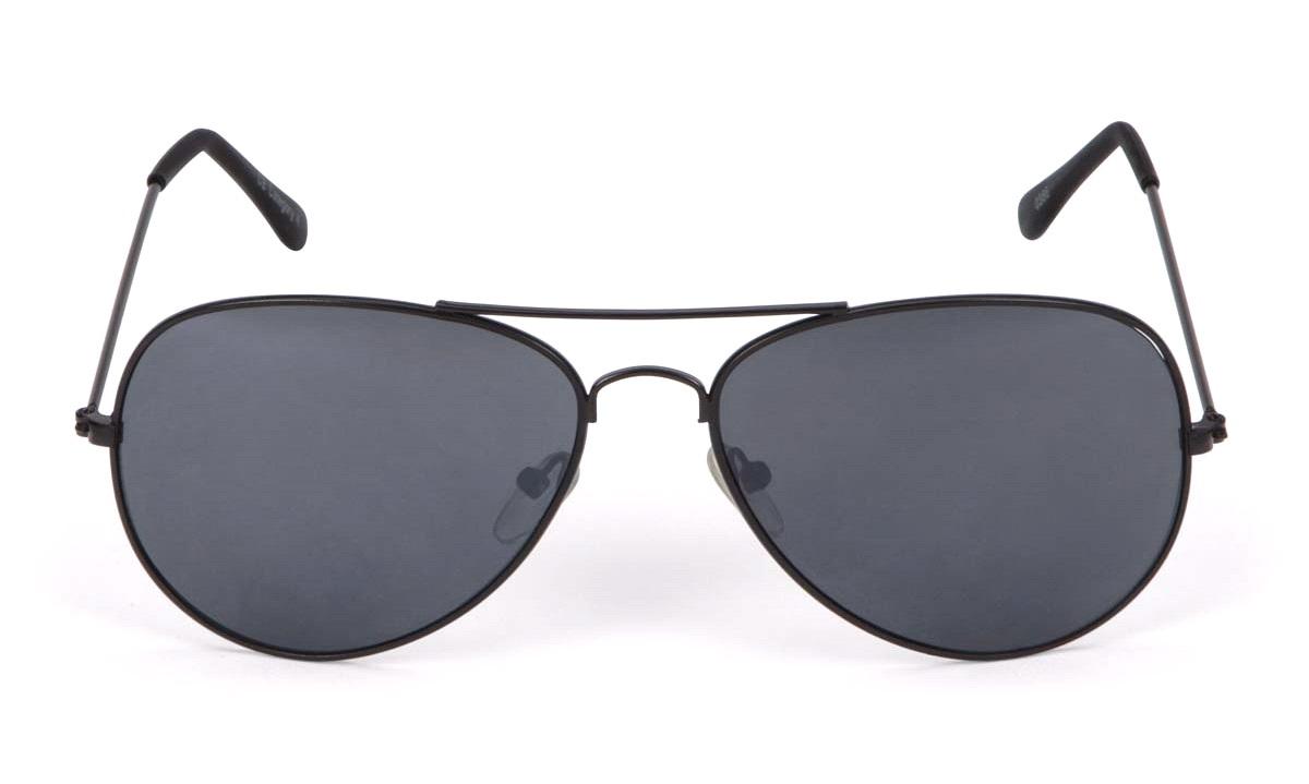 Solbrille metal pilot mat sort mørk glas Briller thansen.dk
