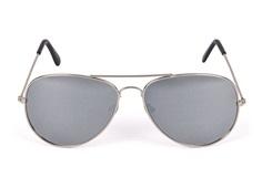e43d9d153d95 Solbrille metal pilot sølv med sølvspejl