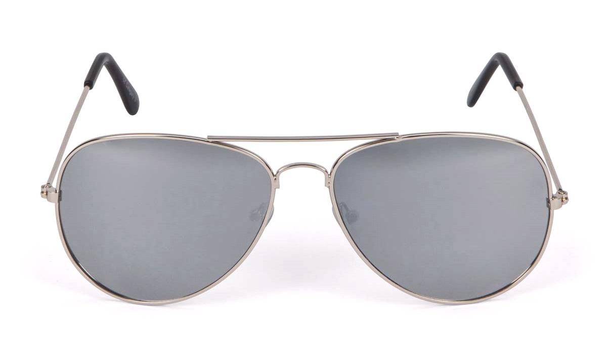 Solbrille metal pilot sølv med sølvspejl