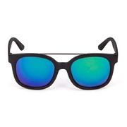 Solbriller mattsort grå glass grønn revo