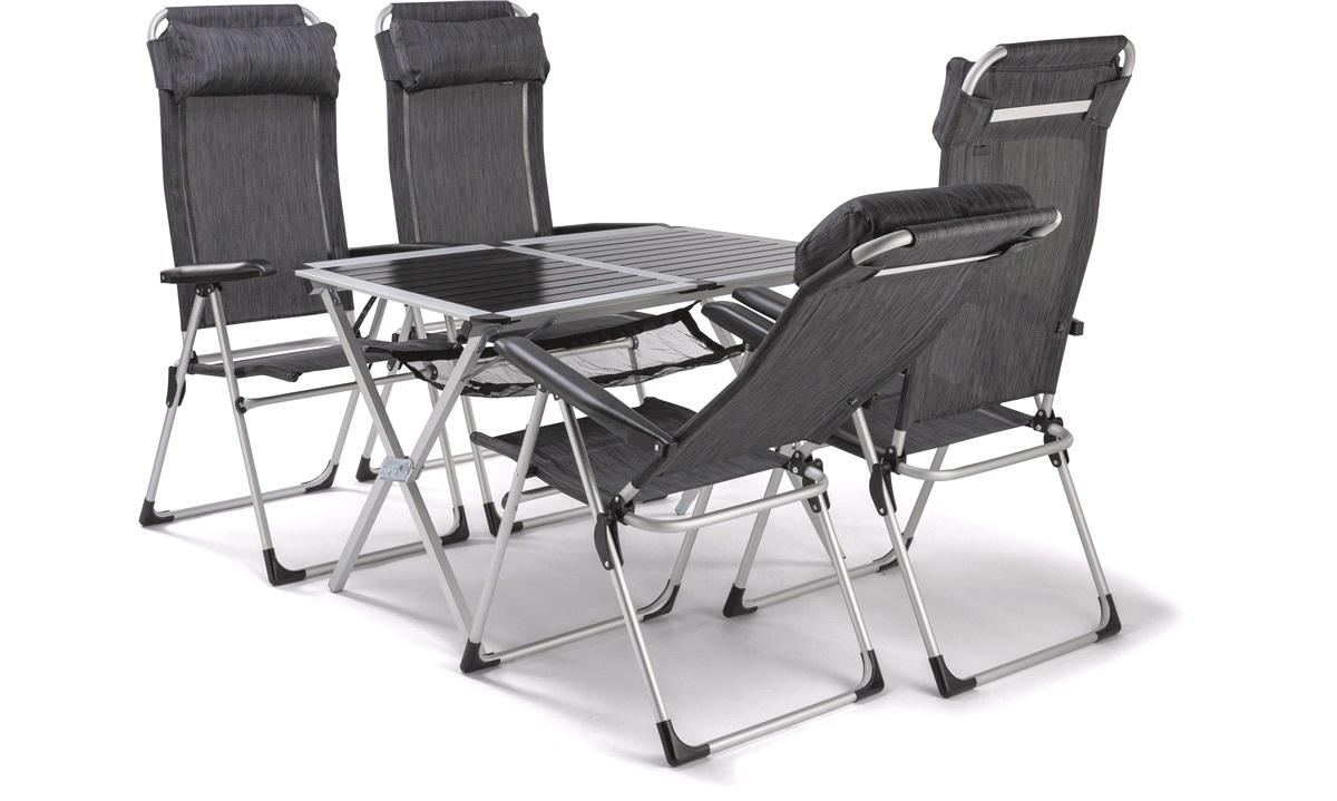 Bord + 4 posisjonsstoler, camping