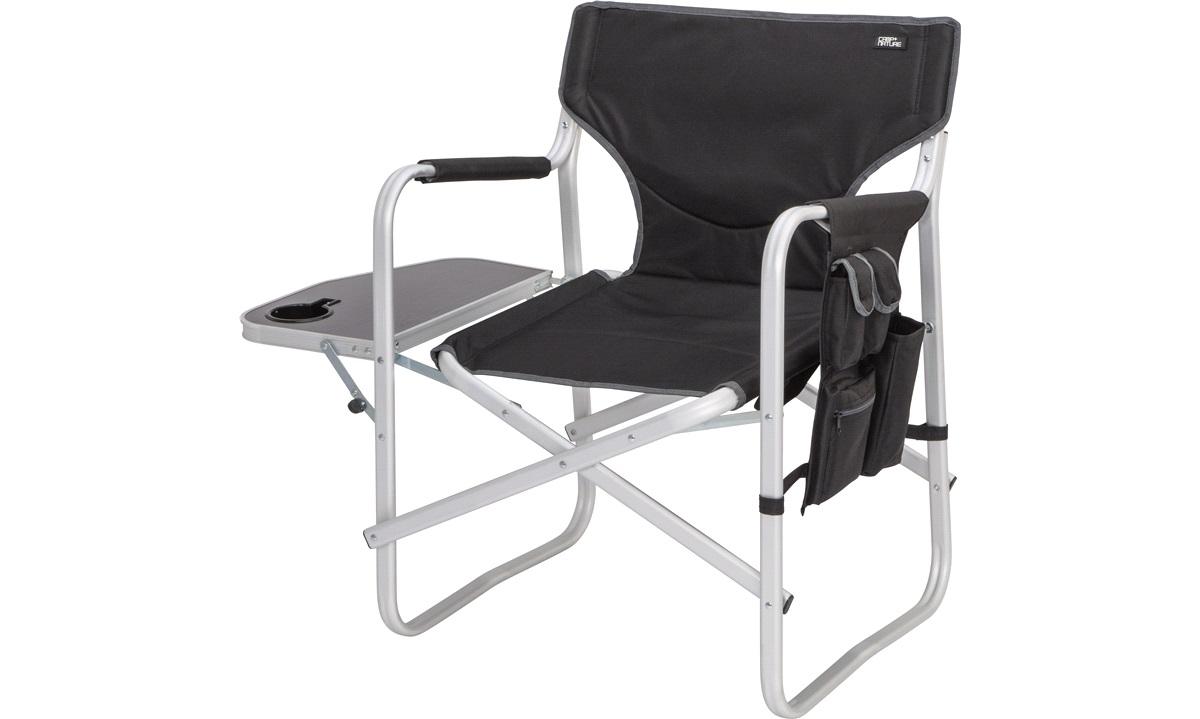 Instruktørstol, Sort/Grå, m/sidebord og kopholder Camp+nature
