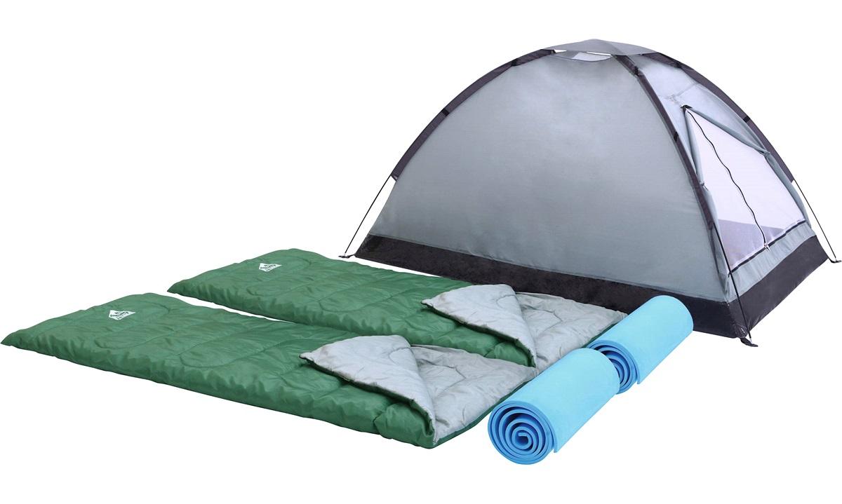 Festivalsæt i praktisk taske, 2 soveposer, 2 liggeunderlag og 1 telt