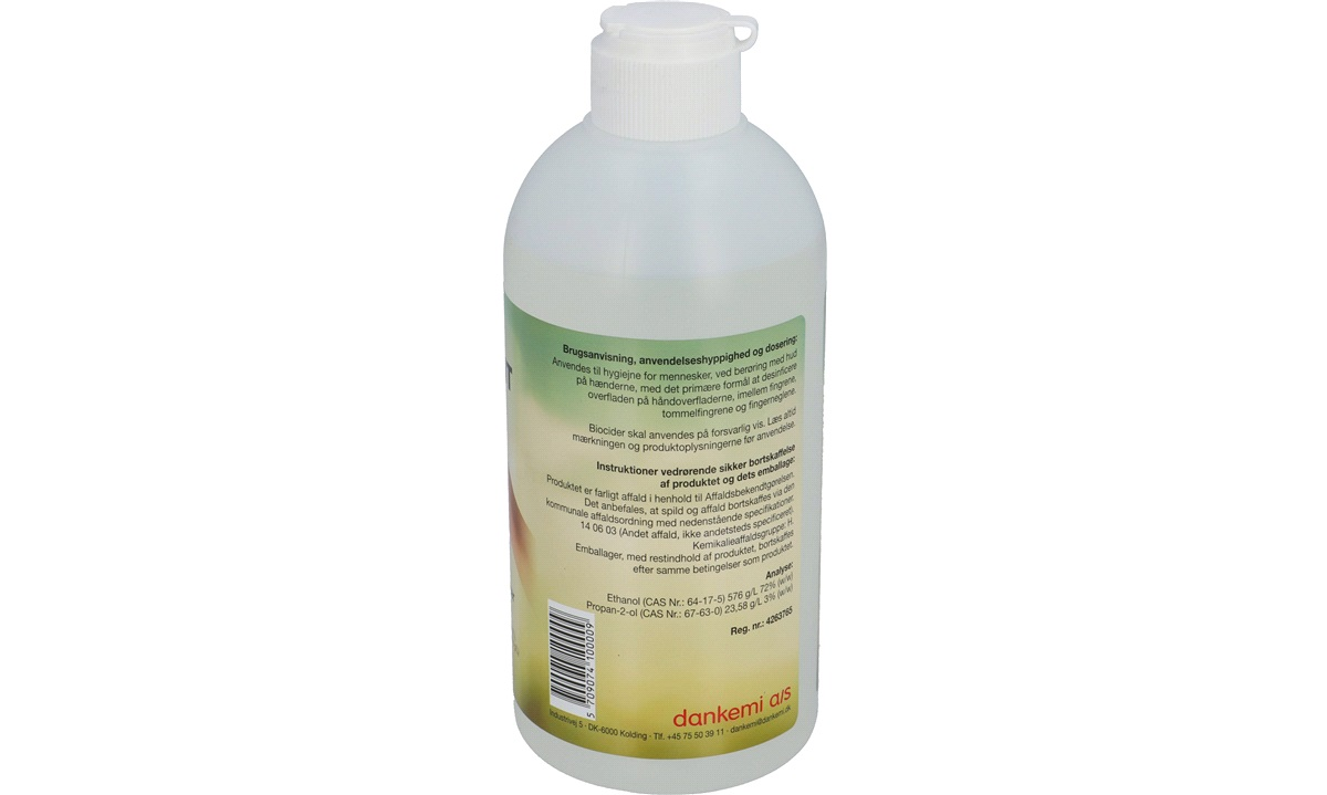 Håndsprit PT 01 500 ml 75% m. glycerin