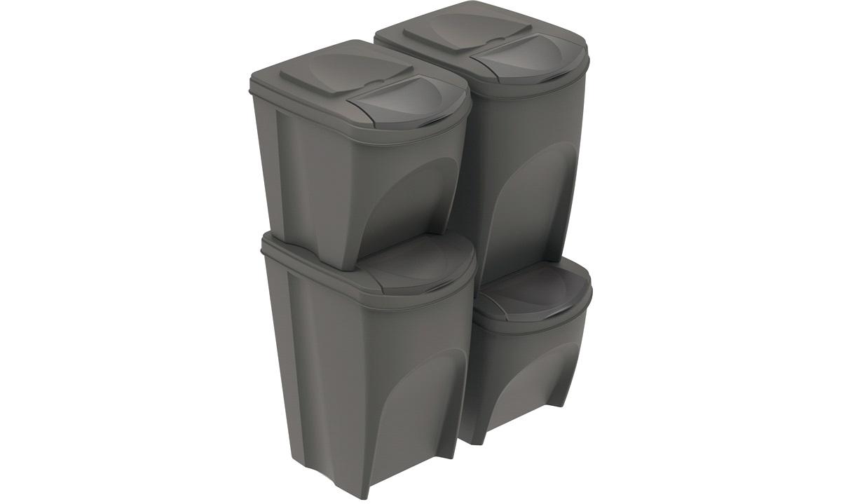 Sorteringsbokse 2x25 + 2x35 l. grå til affaldssortering eller opbevaring