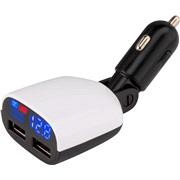 Smart udtag 12/24V 2xUSB 4,8A, voltmeter