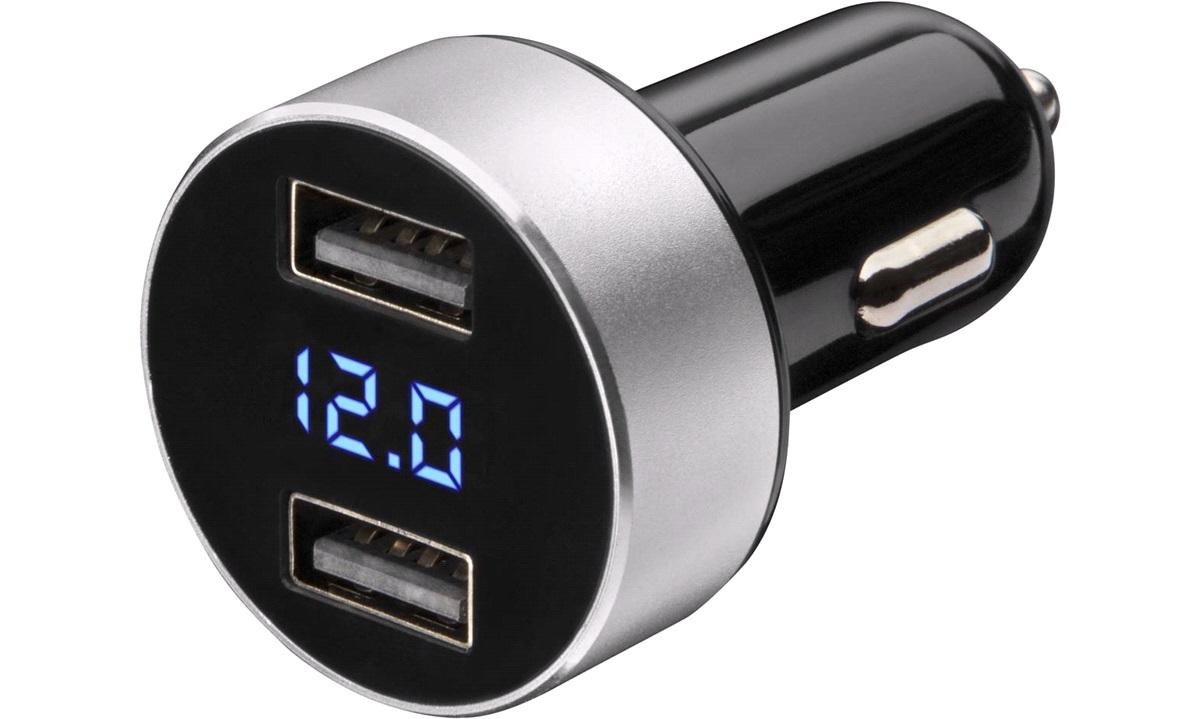 Smart udtag 12/24V 2xUSB 3,1A voltmeter