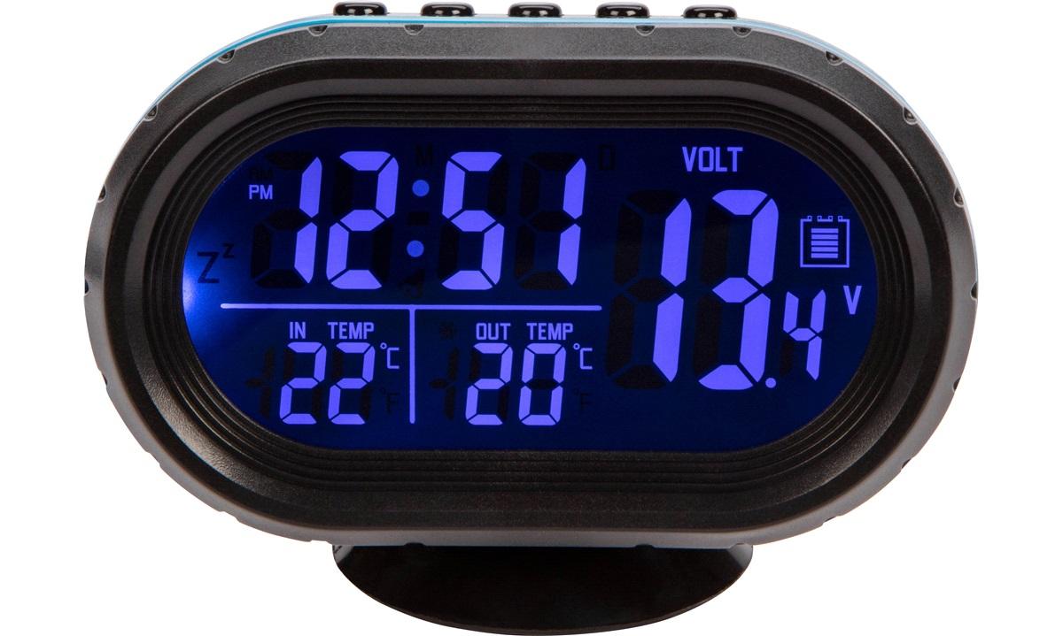 Digital inde/ude termometer voltmeter ur