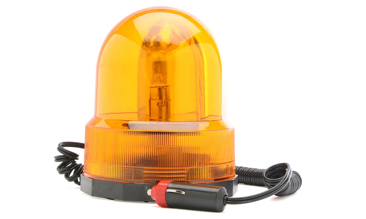 Roterende advarselslys, orange, 12V