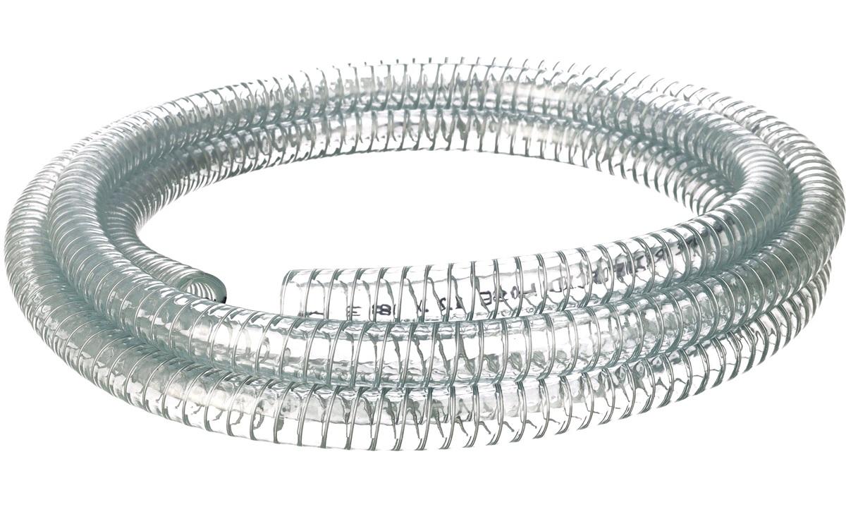 Klar slange m/stålspiral 12mm, rulle 3m
