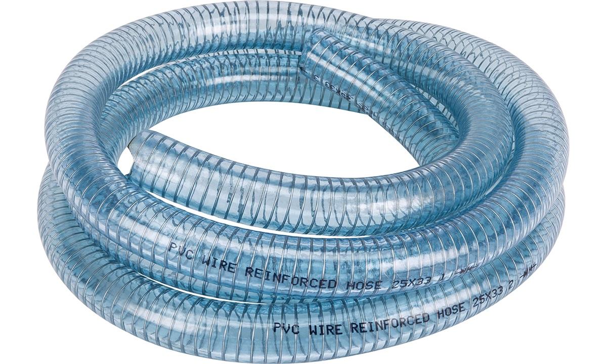 Klar slange m/stålspiral 25mm, rulle 3m