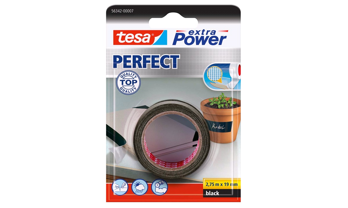 TESA Lærredstape, Extra Power Perfect, 19mm 2,75mtr., sort