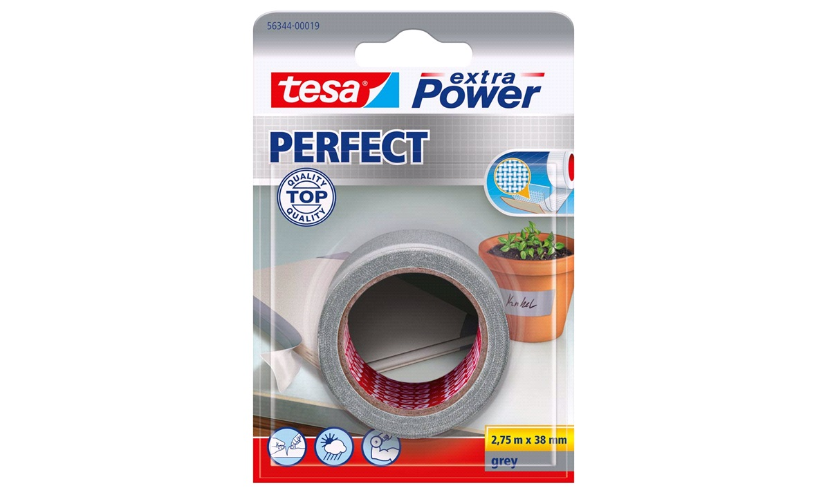 TESA Lærredstape, Extra Power Perfect, 38mm x 2,75mtr., grå