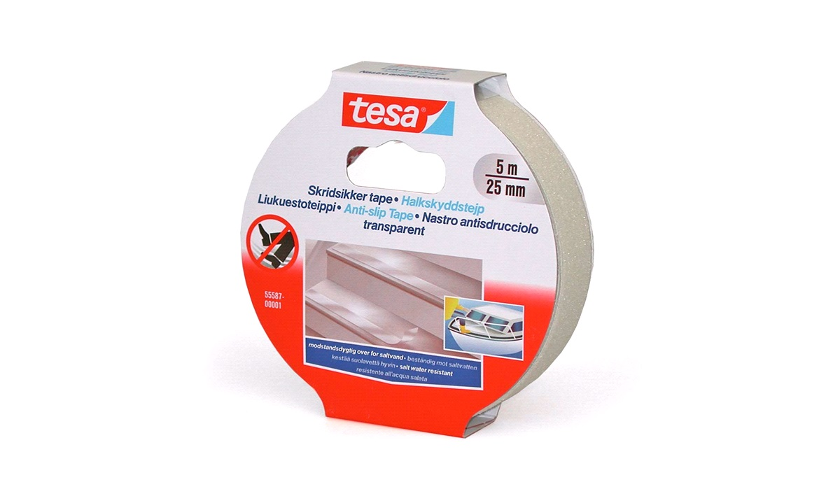 TESA, Skridsikker tape, Transparent, 25mm x 5mtr