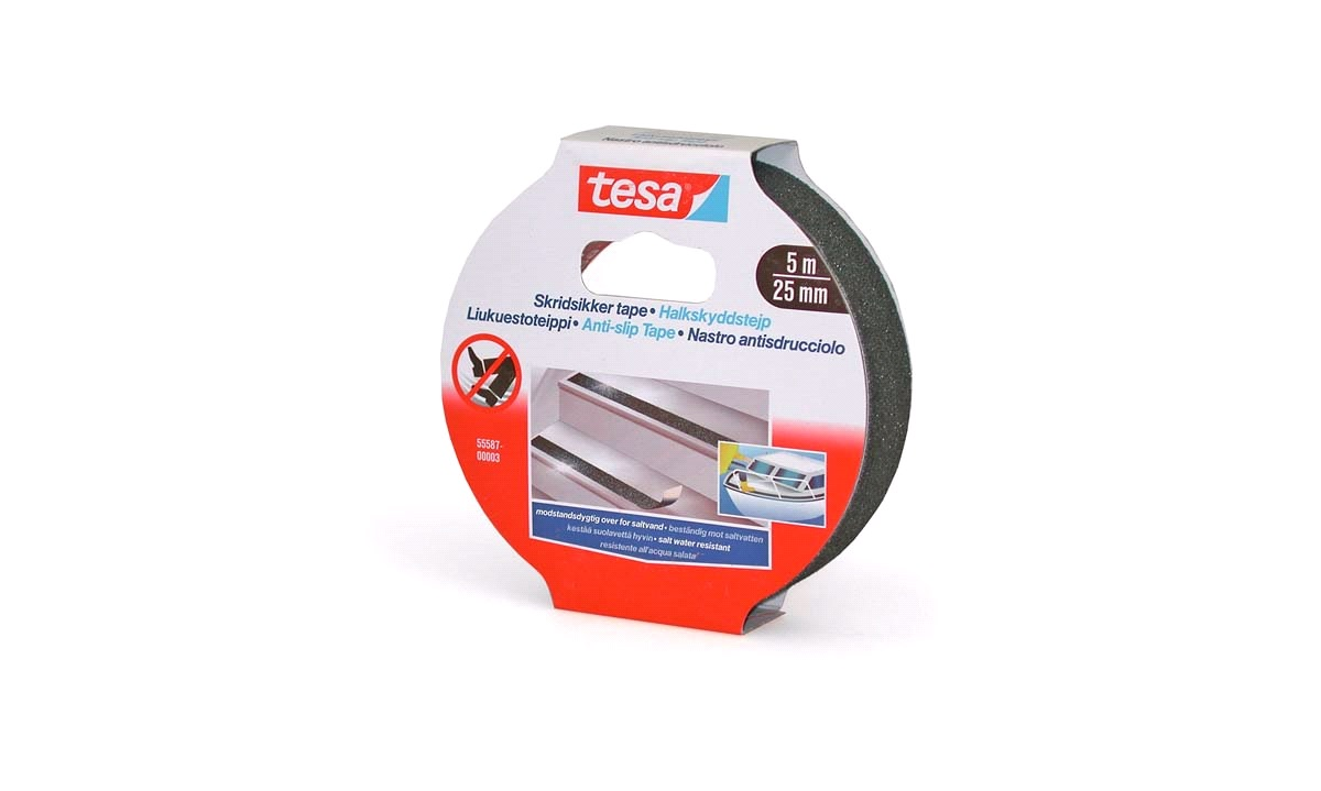 TESA, Skridsikker tape, sort 25mm x 5mtr