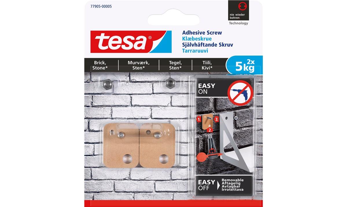 TESA, Firkantet klæbeskrue,5kg.Mur/Sten