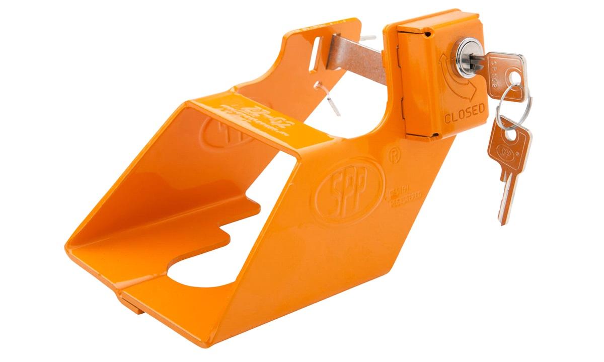 Tilhengerlås med innbygget lås oransje
