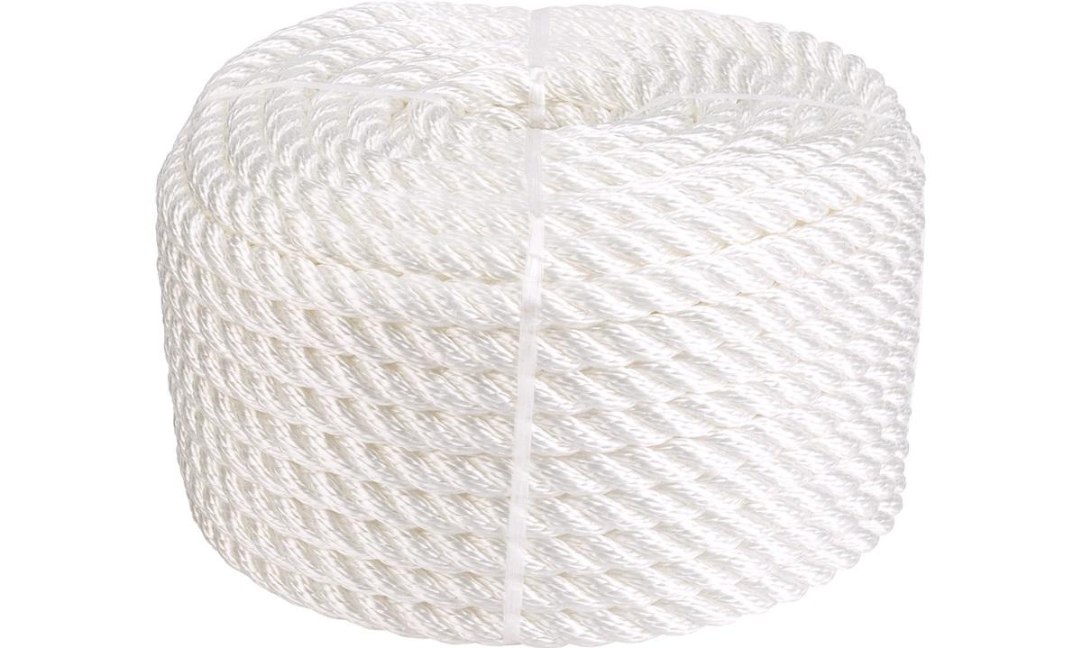 3-Slået PP tau hvit Ø12 mm 30 meter