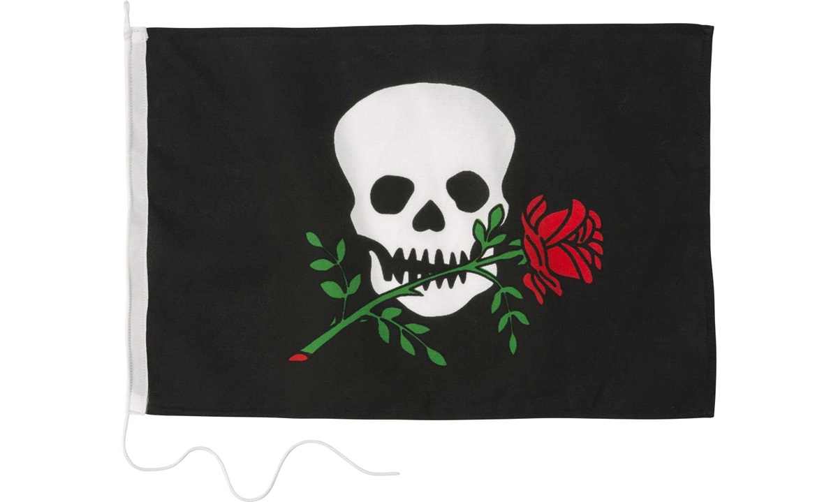 Humorflagg, Pirat med Rose, 30x45 cm