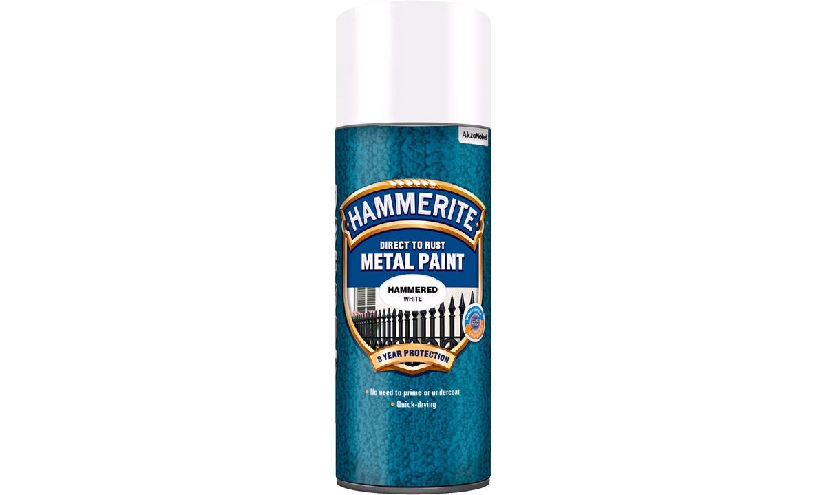 Hammerite Hvid spray Hammered White