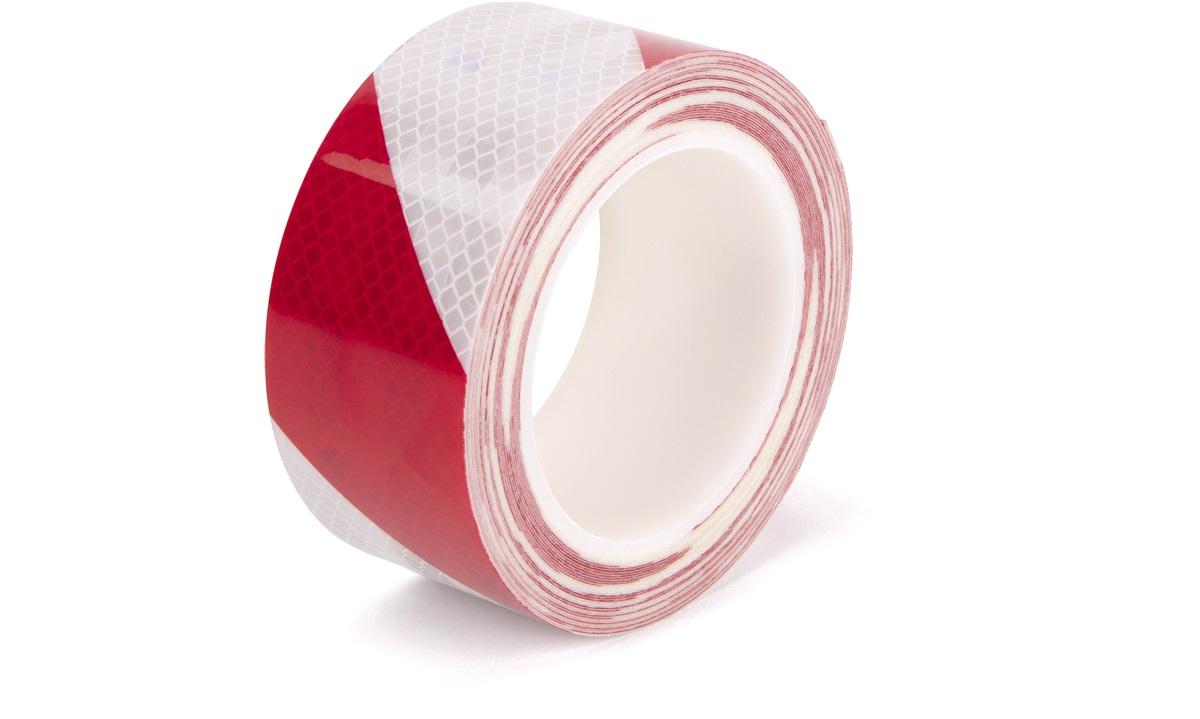 Reflekstape 10 Meter Rød / Hvid